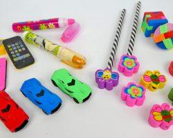 Radierer als Blumen, Autos, Stifte und Puzzle