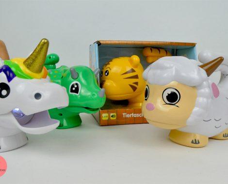 Taschenlampen als Dinosaurier, Einhorn, Schaf und Tiger für Kinder