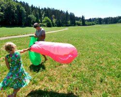 Familienausflug ins Grüne im Sommer mit Spielen