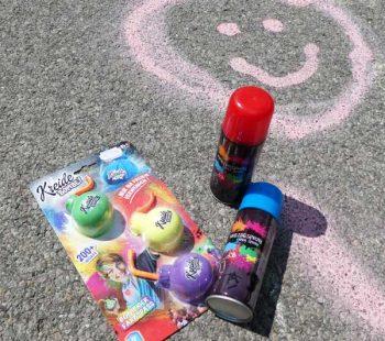 Spiele für den Kindergeburtstag mit Kreidebomben und Sprühkreide