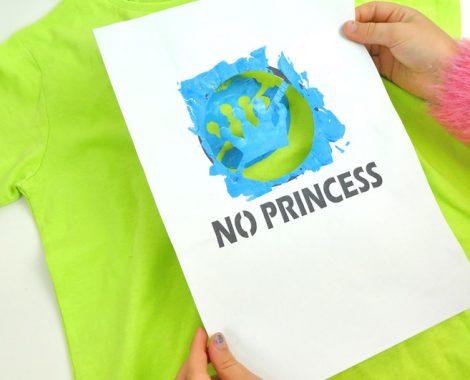 """Schablone """"No Princess"""" gratis für Siebdruck - T-Shirt drucken mit Kindern"""