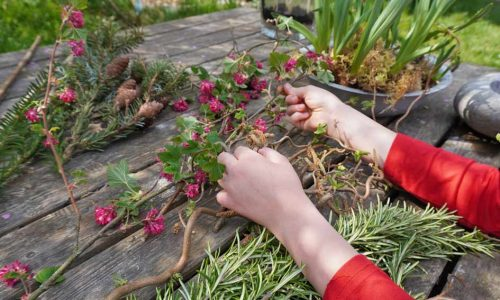 Material für den Natur Webrahmen mit Blumen