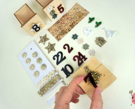 Dekomaterial für das DIY Adventskalender Holzhaus