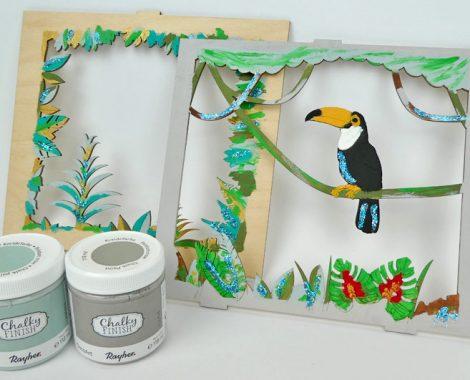 Holzrahmen Deko Tukan mit Chalky Finish Farben bemalen