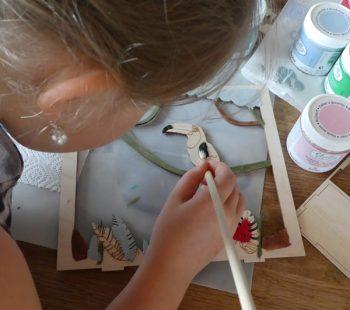 Kinder malen und basteln mit Holz Dekorahmen