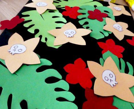 Vorlagen aufkleben - Postmappe Upcycling mit Monstera Blättern und Totenkopf