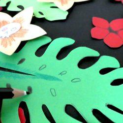 Basteln mit Monstera Blättern und Totenkopf - gratis Vorlage