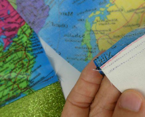 Kinder-DIY-Trends-Wachsttuchstoff-Strandtasche-Landkarte-Stoff-Glitzerstoff-Elbufer-Naht