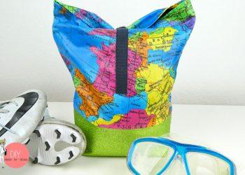 Tasche für Kinder nähen - Strandtasche, Fußballtasche, mit Wachstuchstoff im Landkartenmuster